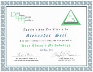 Zertifikat Dave Elman Hypnosis Institute