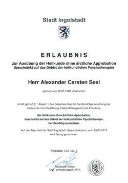 Alexander Seel ist Heilpraktiker für Psychotherapie