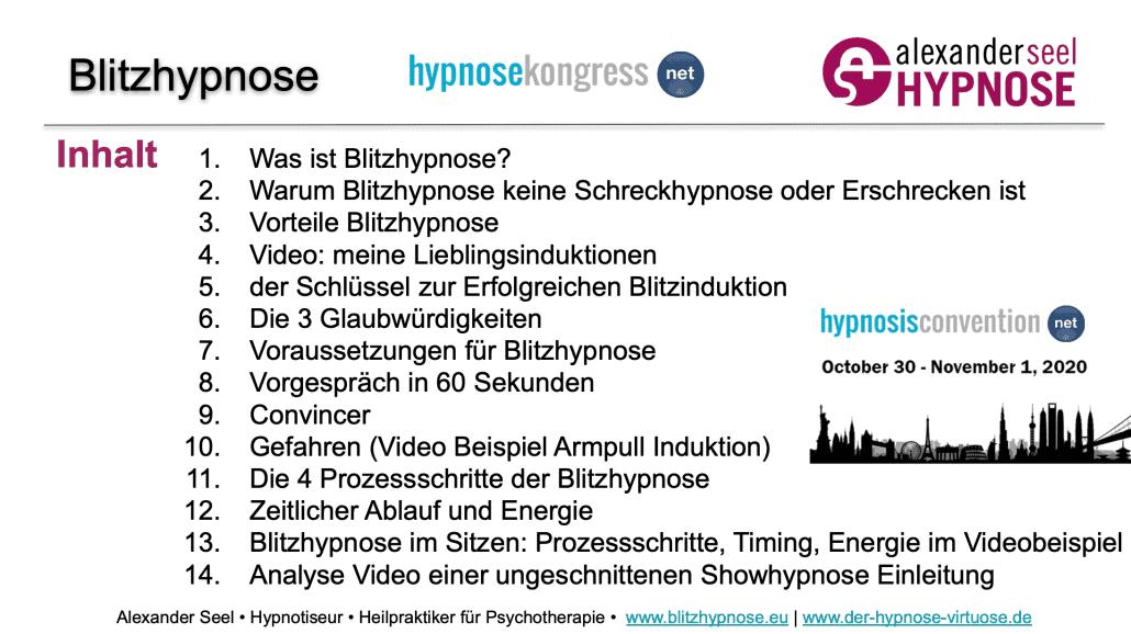 Blitzhypnose Hypnosekongress 2020 Handout Alexander Seel